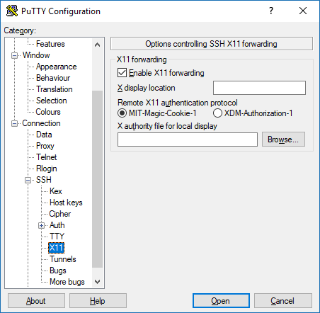 A screenshot of PuTTY, showing how to enable X11 forwarding via SSH in the application.