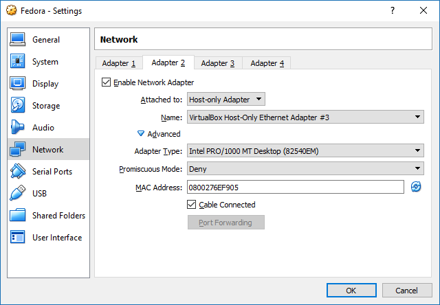 A screenshot from VirtualBox Machine Settings, showing how to add a host-only network adapter.