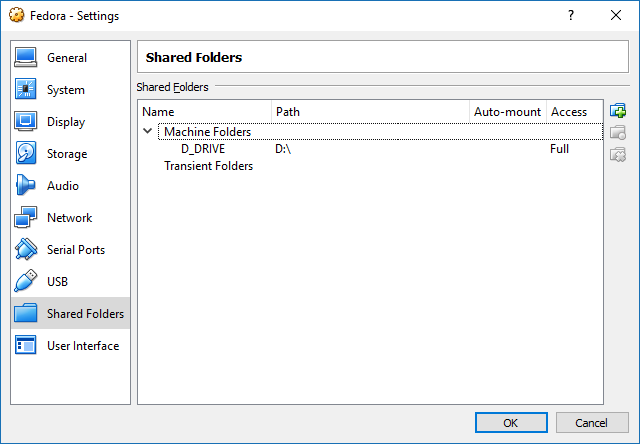 A screenshot from VirtualBox Machine Settings, showing how to set a shared folder.